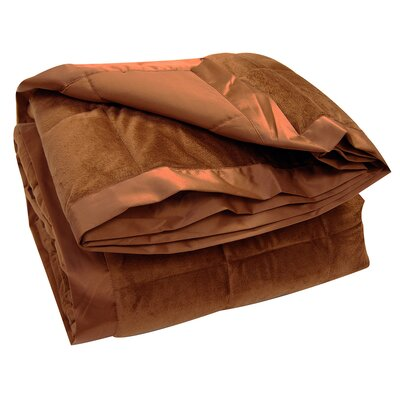 All-Season Down Alternative Plush Blanket Color: Chocolate, Size: Full / Queen