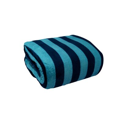 Luxury Printed Striped Plush Blanket Size: Full / Queen, Color: Denim / Sky Blue
