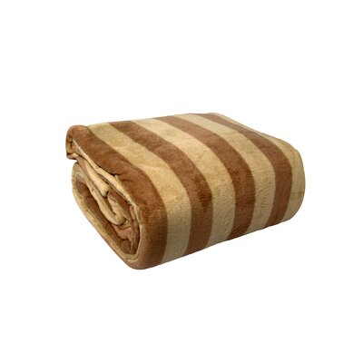 Luxury Printed Striped Plush Blanket Color: Khaki / Taupe, Size: Twin