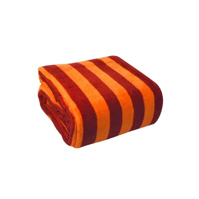 Luxury Printed Striped Plush Blanket Size: Full / Queen, Color: Orange / Red