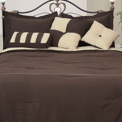 Comforter Set Color: Chocolate/Khaki, Size: Full