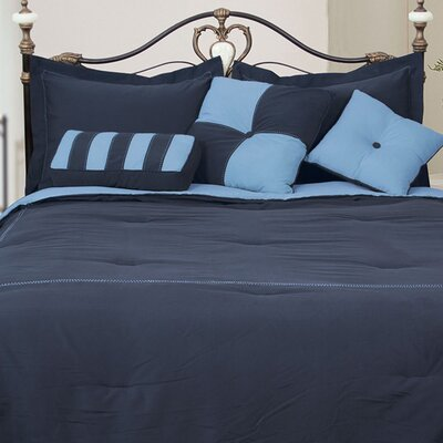 Comforter Set Color: Denim/Smoke Blue, Size: King