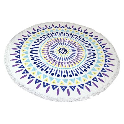 Mandala Round Purple and Green Beach Towel