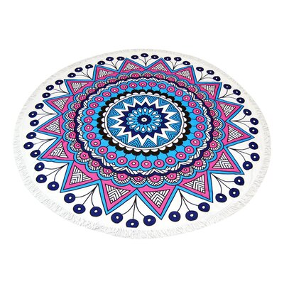 Mandala Round Deep Purple Beach Towel