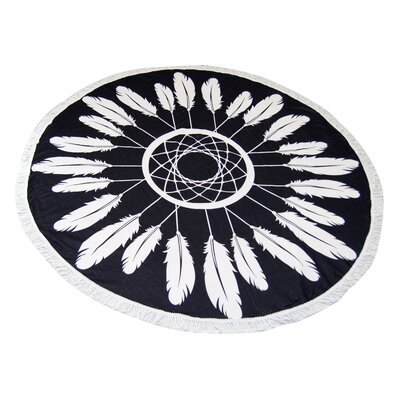 Black Feather Round Beach Towel