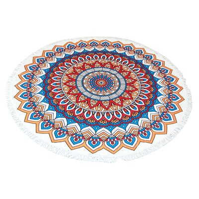Mandala Round Red Beach Towel
