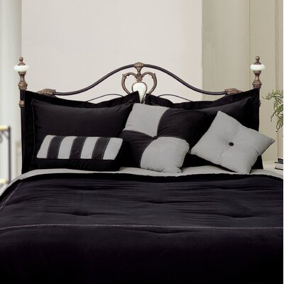 3 Piece Throw Pillow Set Color: Black / Gray
