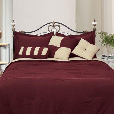 LCM Home Fashions, Inc. Microfiber Comforter Set - Color: Burgundy / Khaki, Size: Full
