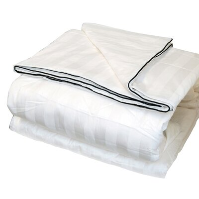 Silk-Filled Damask Stripe Cotton Blanket Size: King