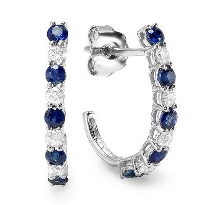 Dazzling Rock Fancy Round Cut Diamond and Sapphire Hoop Earrings