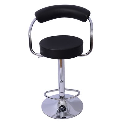 Danvers Adjustable Height Swivel Bar Stool Upholstery: Black