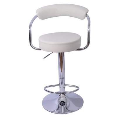Danvers Adjustable Height Swivel Bar Stool Upholstery: White