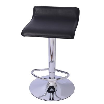 Lanham Adjustable Height Swivel Bar Stool Upholstery: Black