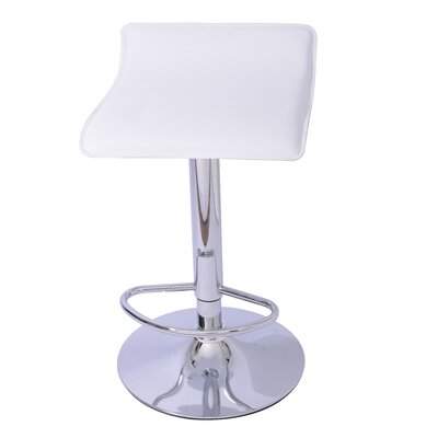 Lanham Adjustable Height Swivel Bar Stool Upholstery: White