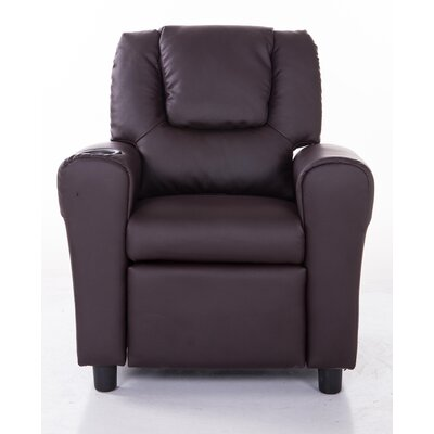 PU Leather Comfortable Kids Recliner with Cup Holder KR2009BRN