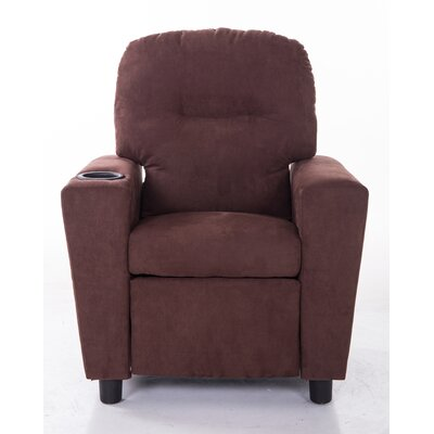 Microfiber Comfortable Kids Recliner with Cup Holder KR2056BRN