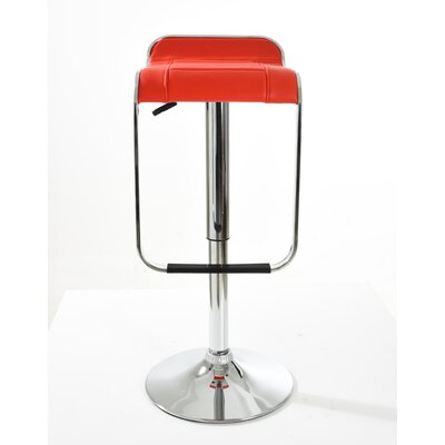 Brad Adjustable Height Swivel Bar Stool Finish: Red