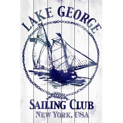 'Lake George Sailing Club' Painting Print on White Wood