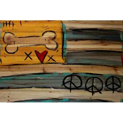 Peace Bone Flag by Tori Campisi Painting Print on Natural Pine Wood Size: 24