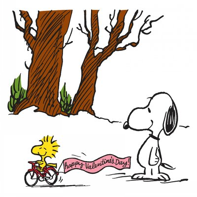"Peanuts Woodstock Happy Valentines Day by Charles M. Schulz Painting Print on Wrapped Canvas Size: 18"" H x 18"" W"