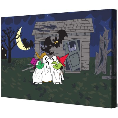 Peanuts Haunted House by Charles M. Schulz Painting Print on Wrapped Canvas Size: 16