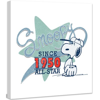 All-Star Green Star Peanuts by Charles M. Shultz Graphic Art on Canvas Size: 24