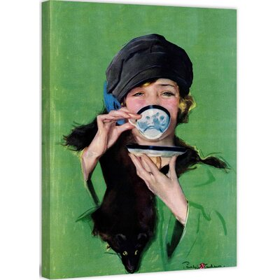Elegant Lady Drinking Cup of Tea by Penrhyn Stanlaws Painting Print on Wrapped Canvas MH-FASGLM-13-C-39