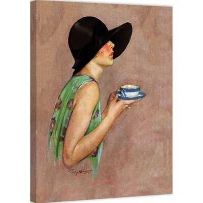 Lady in Wide Brim Hat Holding Tea Cup by Penrhyn Stanlaws Painting Print on Wrapped Canvas MH-FASGLM-14-C-29
