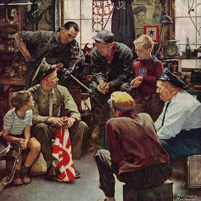 Homecoming Marine by Norman Rockwell Painting Print on Wrapped Canvas Size: 18' H x 18