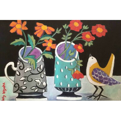 'Two Cheery Vases And A Chirp' by Holly Wojahn Painting Print on Wrapped Canvas MH-MWWHOW-13-C-18