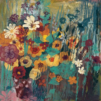 Floral Frenzy Green II Painting Print on Wrapped Canvas Size: 24