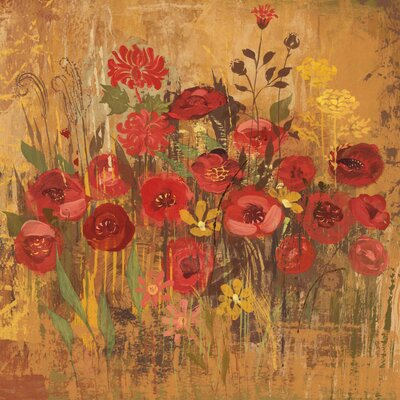 'Floral Frenzy Red Vi' Painting Print on Wrapped Canvas Size: 18
