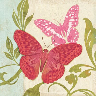 Fuchsia Butterfly II Painting Print on Wrapped Canvas Size: 40