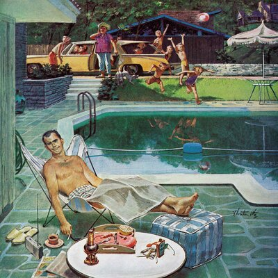 Unwelcome Pool Guests by Thornton Utz Painting Print on Wrapped Canvas Size: 24