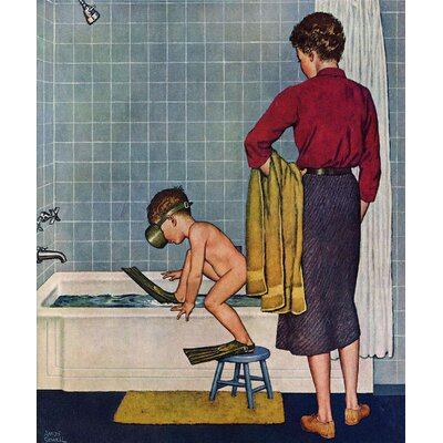 Scuba in the Tub by Amos Sewell Painting Print on Wrapped Canvas Size: 29