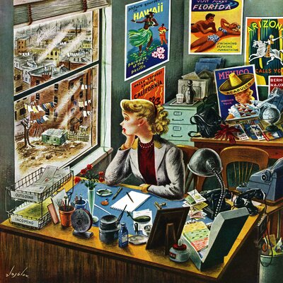 Travel Agent at Desk by Constantin Alajalov Painting Print on Wrapped Canvas Size: 18