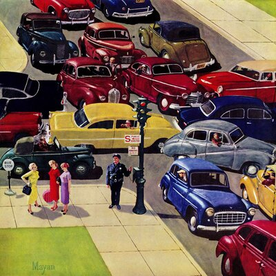 Traffic Jam by Earl Mayan Painting Print on Wrapped Canvas Size: 18
