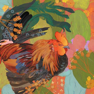 Mexican Rooster by Evelia Painting Print on Wrapped Canvas Size: 24