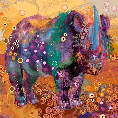The Last Rhino by Evelia Painting Print on Wrapped Canvas Size: 32