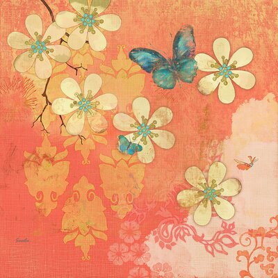 Multi Blossoms Butterfly by Evelia Painting Print on Wrapped Canvas Size: 40
