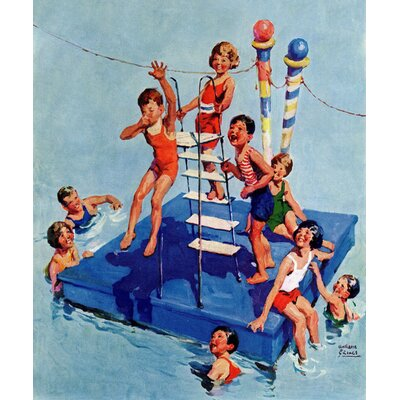 """'Fun In The Water' Painting Print on Wrapped Canvas Size: 29"""" H x 24"""" W x 1.5"""" D MH-KIDCUR-14-C-29"""