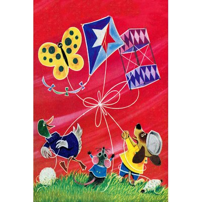 "'Flying A Kite' Painting Print on Wrapped Canvas Size: 36"" H x 24"" W x 1.5"" D"