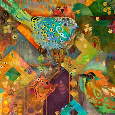 Tanager Birds Painting Print on Wrapped Canvas Size: 40
