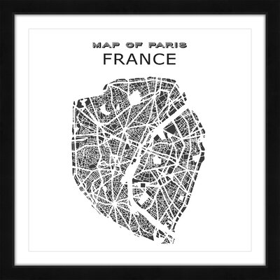 'Paris Map' Framed Painting Print