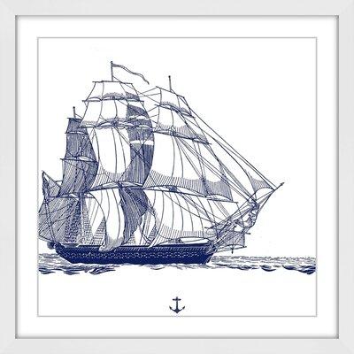 'Blue Ship' Framed Painting Print MH-CSTLCT-87-WFP-12