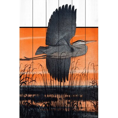 'Marsh Bird' Acrylic Painting Print on Wood Size: 18