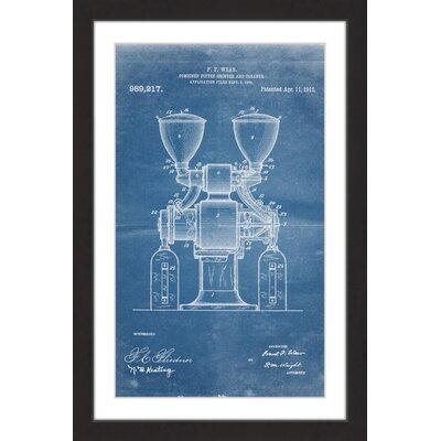 'Coffee Grinder 1911 Blueprint' by Steve King Framed Painting Print MH-STVKG-74-BFP-18