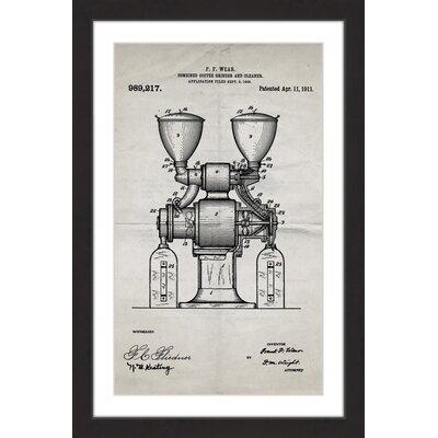 'Coffee Grinder 1911 Old Paper' by Steve King Framed Painting Print MH-STVKG-76-BFP-18