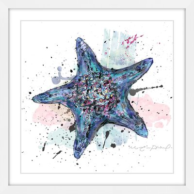 'Étoile De Bleue' Framed Watercolor Painting Print