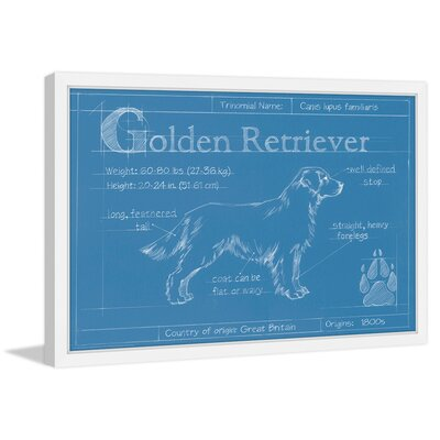 """'Blueprint Golden Retriever' Framed Painting Print Size: 20"""" H x 30"""" W MH-WAG-313-NWFP-30"""